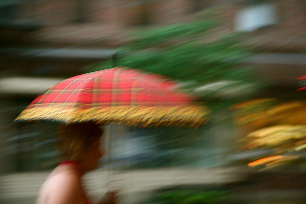 Lady with Plaid Umbrella